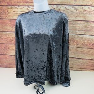Adrianna Papell Small Gray Velour Long Sleeve Top